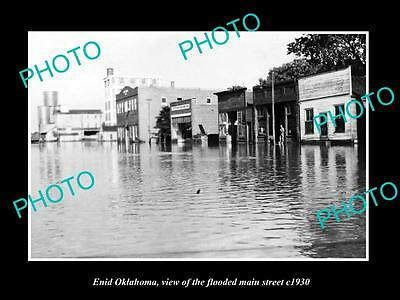 OLD LARGE HISTORIC PHOTO OF ENID OKLAHOMA, THE FLOODED MAIN STREET c1930