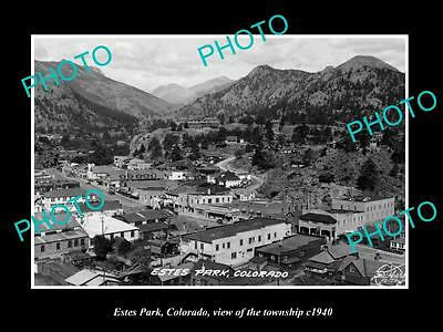 OLD LARGE HISTORIC PHOTO OF ESTES PARK COLORADO, VIEW OF THE TOWNSHIP c1940