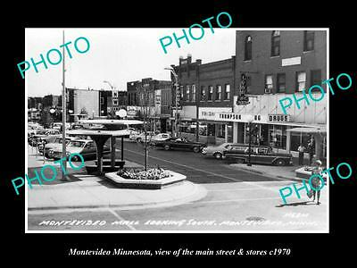 OLD LARGE HISTORIC PHOTO OF MONTEVIDEO MINNESOTA, THE MAIN STREET & STORES c1970