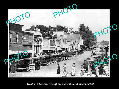 OLD LARGE HISTORIC PHOTO OF GENTRY ARKANSAS, THE MAIN STREET & STORES c1920