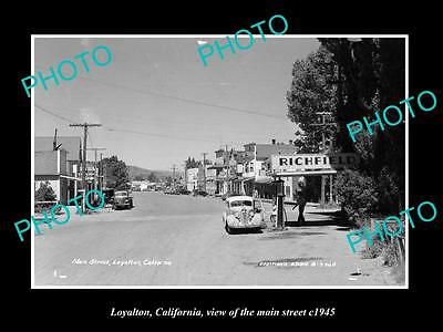 OLD LARGE HISTORIC PHOTO OF LOYALTON CALIFORNIA, VIEW OF THE MAIN STREET c1945