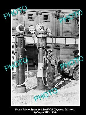 OLD LARGE HISTORIC PHOTO OF UNION MOTOR SPIRIT & SHELL OIL PETROL BOWSERS c1930s