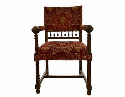 19th Century Antique Henry II Renaissance Style Hall Library Fireside Lord Chair