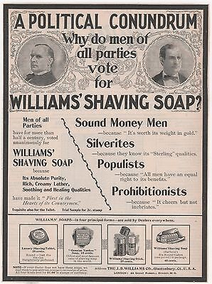 Lg. 1896 Wm. McKinley & WJ Bryan WILLIAMS Shaving Soap Ad! A POLITICAL CONUNDRUM