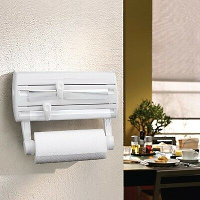 Wall Mounted Kitchen Roll Holder With Cling Film, storage rack and Foil Cutter