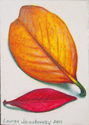 """ACEO Original Colored Pencil Drawing by L. Jacoubowsky - """"Fall Leaves VI"""""""