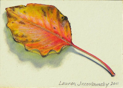 """ACEO Original Colored Pencil Drawing by L.Jacoubowsky - """"Colorful Leaf"""""""