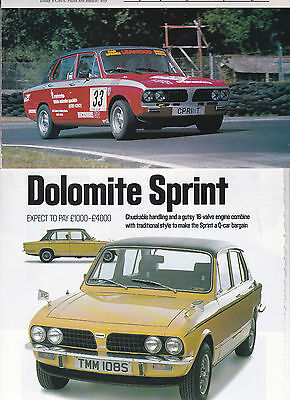 8 LOT Vintage TRIUMPH Dolomite/Sedans Automobile Magazine Articles, All UK Issue