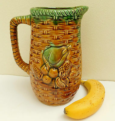Vintage Majolica jug pineapples bananas and other tropical fruit 9 inches tall