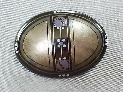 Beautiful Vintage Signed Michaela Frey/austria Secessionist Style Enamel Brooch