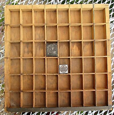 Vintage Wooden Typeset Shadow Box Drawer Printing Block LetterPress Tray 12.5""