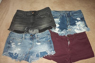 Women's Lot of 4 AMERICAN EAGLE SHORTS SIZE 6 AND 8 Hi-rise SHORTIE