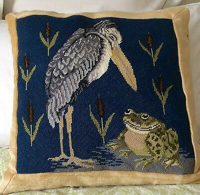 BETH RUSSELL Tapestry Kit Completed Cushion - Stork and Frog - William de Morgan