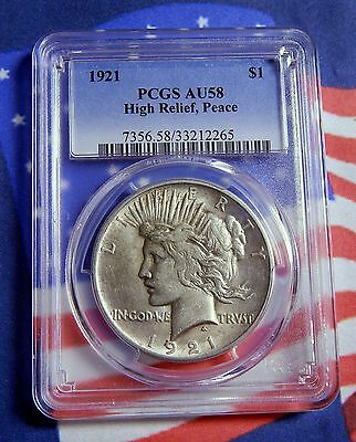 "1921 Peace Silver Dollar  High Relief Pcgs Au 58- Nice Strike -  ""tough Date!"""