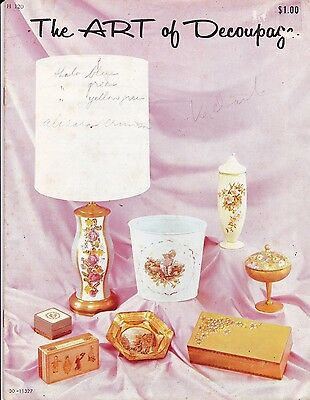 Vtg 60s The Art of Decoupage Craft Course Instruction Book w/ Prints to Cut Out