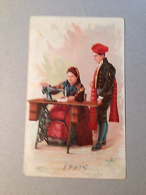 "Vintage 1880's  Singer Sewing Machine Trade Card ""Spain"" Barcelona  965"