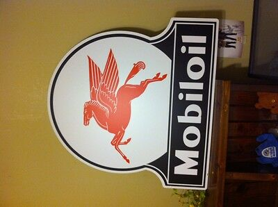 """MOBIL OIL""""Pegasus"""" SIGN OLD STYLE PORCELAIN LOOk  ADVERTISING LG 34x32 Gas Oil"""