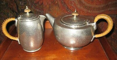 ANTIQUE TUDRIC PEWTER TEAPOT & HOT WATER POT ARCHIBALD KNOX FOR LIBERTY'S c1900