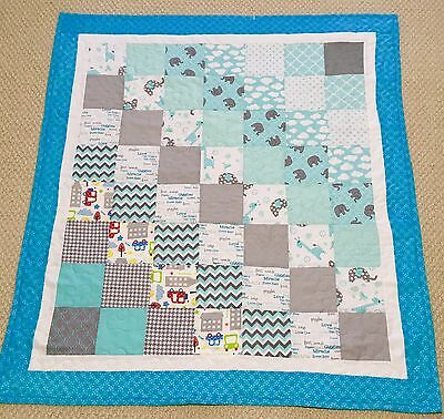 New Handcrafted Cotton Aqua and Gray Patchwork Baby Quilt