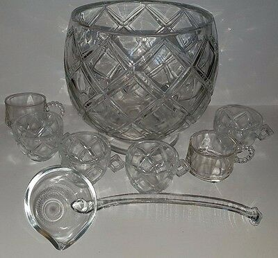 Vintage Cut Glass Crystal Punch Bowl Set with Glass Ladle and 6 Glasses
