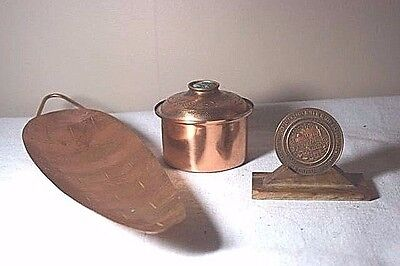 Lot of 3 Copper Items from Isreal - Jerusalem Coin, Messica Tray, & Trinket Box