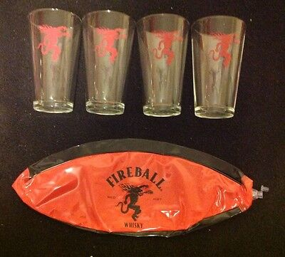 Lot Fireball Cinnamon Whisky Glasses Beach Ball Bar Red Dragon Logo Picnic Party