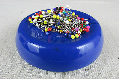 Vintage 1980 Blue Feather Grabbit Magnetic PinCushion With Pins Plastic USA