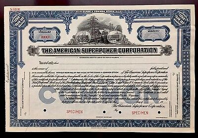 The American Superpower Corp. SPECIMEN Stock Certificate - VERY RARE BLUE SHARE!