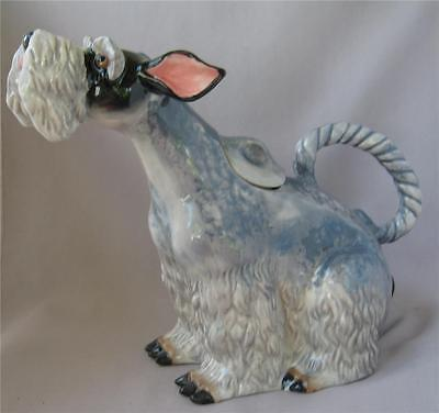 Blue Sky Clayworks Ceramic Heather Goldminc Gray SCHNAUZER Dog Teapot
