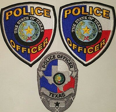 lot of colored Texas police patches