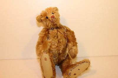 "Terry John Woods Mohair Bear 9.5"" sign tush tag Weathered look Vermont 1992 K"