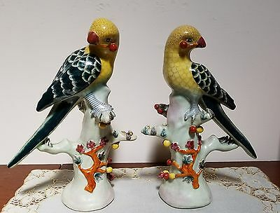 Exquisite Detailed Pair Vintage Chinese Porcelain Bird Statues Marked