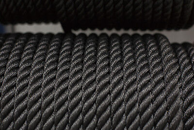 Nylon 3 Strand Twisted  Rope 16mm x 25 metres, Black