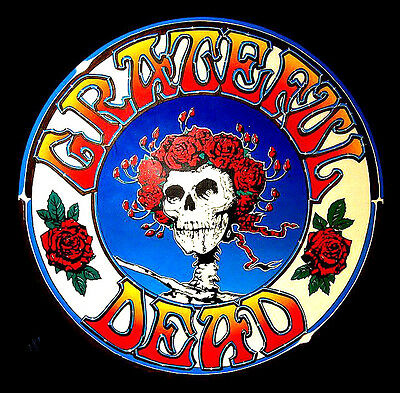 "2.5"" Grateful Dead LSD SKULL & ROSES Vintage style STICKER. For your bong, pipe"