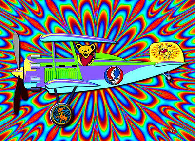 "3.25"" Grateful Dead LSD FLYING HIGH Vintage style STICKER. For your bong or pipe"