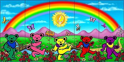 "3.25"" Grateful Dead LSD RAINBOW BEARS Vintage style STICKER. For your bong, pipe"