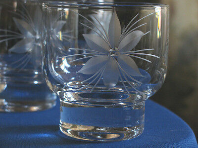 Barware WHISKEY GLASSES Small OLD FASHIONED LIQUOR Tumblers Cut Flower