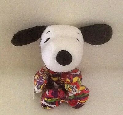"""Hallmark ~ Peanuts Gang ~""""Snoopy"""" ~ Pschedelic Print ~ Plush ~ Small 9"""" ~ NWT"""