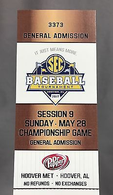 2017 SEC Baseball Tournament Championship Game Ticket Stub LSU Tigers Arkansas