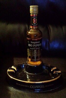 RARE Vintage Mid-Century Seagrams Distill 100 Pipers Scotch Whisky Cigar Ashtray