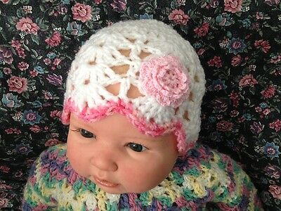 Crochet Baby Beanie - 0 to 3 months - NEW