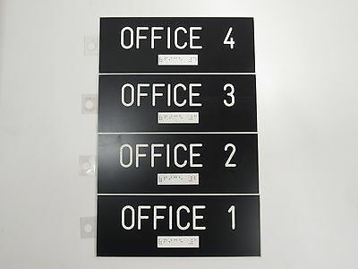 OFFICE 1 - 2 - 3 - 4 Signs With Braille - Black & White Engraved Plastic
