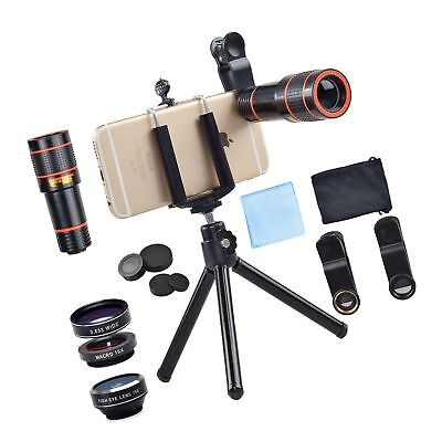 Apexel 4 in 1 12x Zoom Telephoto Lens + Fisheye + Wide Angle + Macro Lens wit...