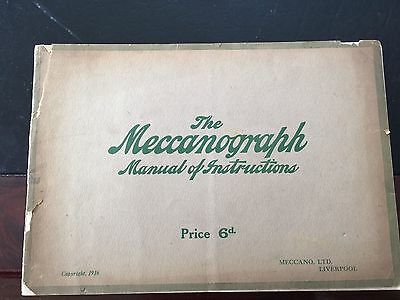 Meccano Meccanograph Manual of Instructions Dated 1916