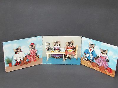 Kruger, 3 Tabby Cats Humor Notecards, W. Germany - Dressed Up Kitties