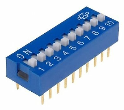 DIP Switch 10 pins, ON-OFF  0.05A/12VDC, THT