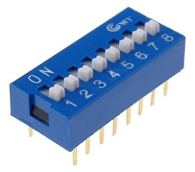 DIP Switch 16 pins, ON-OFF  0.05A/12VDC, THT