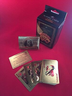 Playing Cards 24k Gold Plated Foil 54 Card Deck NEW (Casino, Poker, Blackjack)