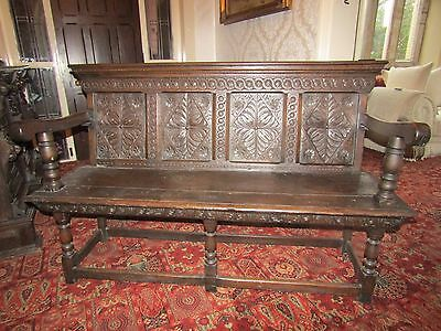 William & Mary Period Oak Carved Panelled Settle UNIQUE ATTRACTIVE piece