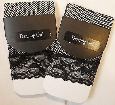 Dancing Girl One Size Lace Top 2 pairs of Fishnet Ankle High Socks in Black
